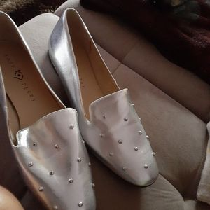 Leather silver Katy Perry slip ons